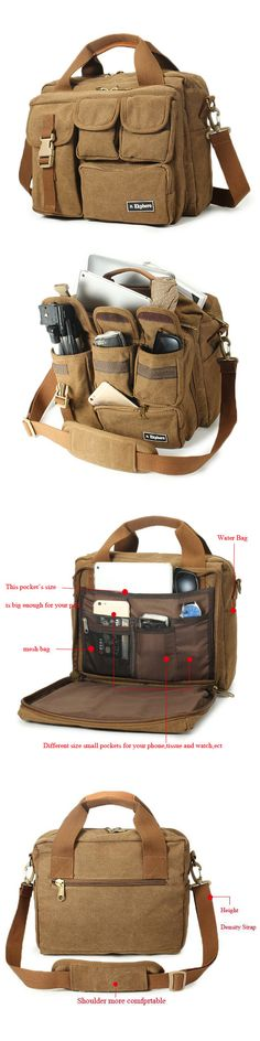 US$33.99 EKPHERO Men Large Capacity Canvas Crossbody Computer Bag Outdoor Casual Travel Tactical Bag