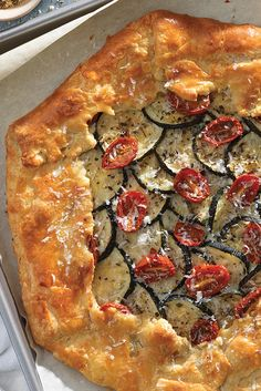 Savory Zucchini Galette - King Arthur flour recipe - A summery, savory galette for any occasion. Vegetable Recipes, Vegetarian Recipes, Cooking Recipes, Healthy Recipes, Vegetarian Dinners, Pie Recipes, Quiches, Cheesecakes, Galette Recipe