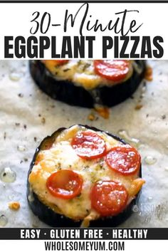 Easy Mini Eggplant Pizza Recipe - Low Carb - This easy low carb eggplant pizza recipe needs just 6 ingredients! See how to make eggplant pizza faster than other methods - only 30 minutes total. Eggplant Pizza Recipes, Mini Eggplant Recipe, Eggplant Pizzas, Breakfast Recipes, Eggplant Dishes, Good Healthy Recipes, Gourmet Recipes, Real Food Recipes, Salads