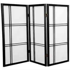 Oriental Furniture 3' Tall Double Cross 3 Panels Shoji Screen ($89) ❤ liked on Polyvore featuring home, home decor, panel screens, black, black home decor, lattice screen, cross home decor, shoji screen and folding room dividers