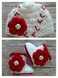 Crochet Baseball Beanie and Booties  My mom would LOVE this if I ever have a baby girl!