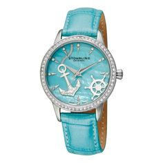 Be feminine with this lovely Verona Del Mar from Stuhrling Original. The round stainless steel case displays a bezel encrusted with crystals. The blue mother of pearl dial shows gorgeous crystals at every hour position.
