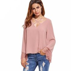 1c7cfaea5b0c Womens Long Sleeve Criss Cross Top. Korean ShirtsShirt SleevesLace ...