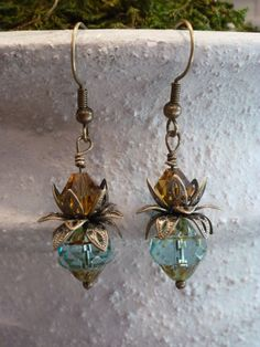 Czech glass beaded earrings, fancy picasso beads, blue turbine beads, Swarovski crystals, antique gold, filigree flower bead caps