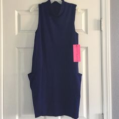Betsey Johnson dress Betsey Johnson mock turtleneck sleeveless dress, size 6.  Dark blue, big side pockets. Fully lined. 62% rayon, 33% nylon, 5% spandex.  So cute!  New with tag attached. Betsey Johnson Dresses