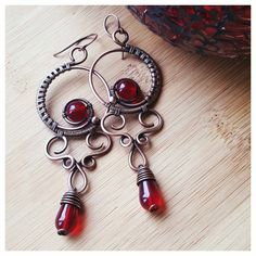 Deep red chandelier earrings wire wrapped by FromRONIKwithLove