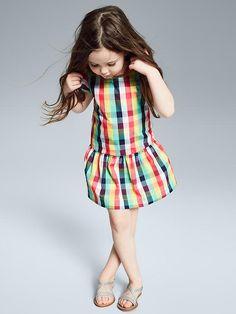 Plaid drop-waist dress   Gap