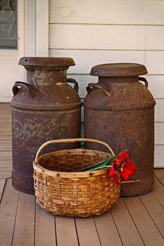 Antique Milk Cans Photograph