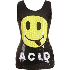 Womens Chic Sequined Emoji Pattern Tank Top Black (21 CAD) ❤ liked on Polyvore featuring tops, black, sequin tank, sequin tank top, print tank top, pattern tops and print top
