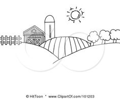 royalty free rf clipart illustration of a coloring page outline of rolling hills - Barns Coloring Pages Farm Silos
