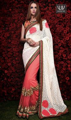 Awesome Pink and White Designer And Party Wear Saree  Make the heads turn the moment you costume up in this sort of a charming pink and white net and net brasso designer saree. The amazing attire creates a dramatic canvas with superb embroidered and patch border work