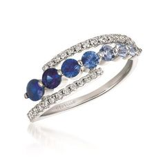 14K Vanilla Gold® Sapphire Ombre 5/8 Cts. Ring with Vanilla Diamonds 1/4 Cts.