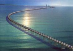 Donghai Bridge in China measures a little over 20 miles. It is the longest over sea bridge in the world. Incredible the things man can do.