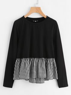 To find out about the Checkered Flounce Trim Mixed Media Tee at SHEIN, part of our latest T-Shirts ready to shop online today! Sewing Clothes Women, Diy Clothes, Clothes For Women, Hijab Fashion, Fashion Dresses, Women's Fashion, Fashion Stores, Fashion Black, Fashion 2018