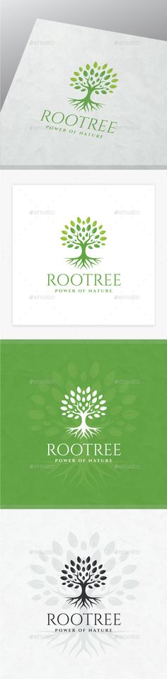 Root Tree Logo: Nature Green Logo Design Template by yopie. Tree Photoshop, Best Photoshop Actions, Tree Silhouette Tattoo, Plant Logos, Examples Of Logos, Vector Trees, Garden Illustration, Tree Logos, Marca Personal