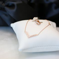 The Bar Earrings and V-Necklace in 14k Rose Gold from Ada Diamonds Delicate Collection.   Diamond fashion jewelry for just $500. Four diamond drop earrings. Four stone diamond earring. Diamond bar earring. Bar earrings.