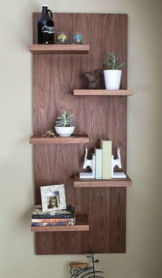 Add a dramatic style statement in any room with these floating shelves. Though they look like they're made of solid wood (walnut in our case), this project is actually all plywood that has iron-on edging to cover the exposed plywood edges. You'll be amazed how easy this shelf unit is to build. Get the free DIY plans at buildsomething.com