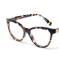 Women's brown-blue marble acetate eyeglasses with cat-eye frame by Dolce and Gabbana