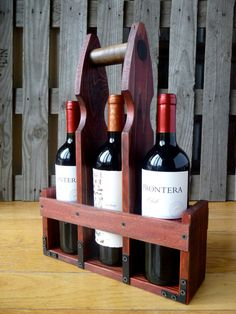 Rustic wine and beer bottle carrier tote by RusticGateHome on Etsy