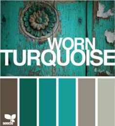 Worn Turquoise by Design Seeds, with color codes---color scheme for dining room- except through some red accents in there wedding fall ideas / april wedding / wedding color pallets / fall wedding schemes / fall wedding colors november Design Seeds, Colour Schemes, Color Combos, Colour Palettes, Turquoise Color Schemes, Turquoise Paint Colors, Turquoise Walls, Bedroom Turquoise, Turquoise Furniture