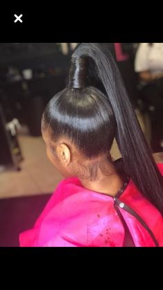PIN:@dominiquemae390❤️ AND FOLLOW ME ON IG CUZ IM LITTYYY IG:@only1_queenk Baddie Hairstyles, Black Girls Hairstyles, Ponytail Hairstyles, Weave Hairstyles, Pretty Hairstyles, Ponytail Styles, Sleek Ponytail, Weave Ponytail, Natural Hair Weaves