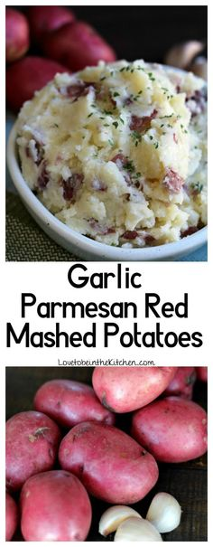 Parmesan Red Mashed Potatoes Easy and flavorful Garlic Parmesan Red Mashed Potatoes are the perfect tasty side dish!Easy and flavorful Garlic Parmesan Red Mashed Potatoes are the perfect tasty side dish! Classic Mashed Potatoes Recipe, Mashed Red Potatoes, Recipe For Garlic Potatoes, Healthy Mashed Potatoes, Cooking Red Potatoes, Potato Side Dishes, Vegetable Dishes, Good Side Dishes, Dinner Side Dishes