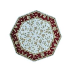 """1800getarug Wool and Silk Octagonal Rajasthan Hand-knotted Rug (8'1 x 8'2) (Exact Size: 8'1"""" x 8'2""""), Ivory, Size 8' x 8'"""