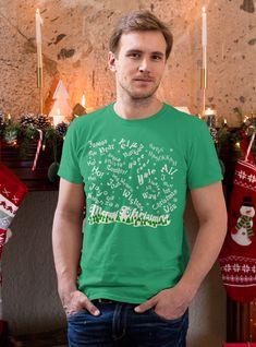Merry Christmas Snowfall in all the Seasons Greetings! Green Unisex T-Shirt - 4XL
