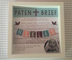 Baby- & Geburtskarten - Personalisierter Patenbrief mit Rahmen - ein Designerstück von Garlanda-DIY bei DaWanda
