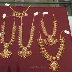 Latest Model Kemp Necklace Designs, Latest Gold Kemp Ruby Necklace Designs, Gold Antique Kemp Jewellery Collections.