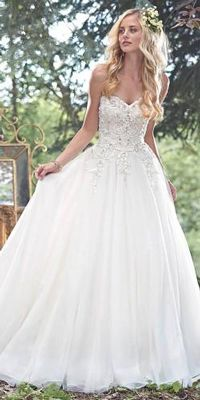 maggie sottero strapless aline wedding dress - Deer Pearl Flowers / www. Deer Pearl Flowers, Maggie Sottero, Lace Applique, Fitted Bodice, Tulle, Wedding Dresses, Fashion, Princess Style, Skirts