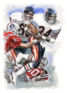 bed5b5d971 New England Patriots Runningback Walter Payton by Merv Corning. Pro Football  Journal Presents  NFL Art  Merv Corning. Nfl BearsNfl Chicago ...