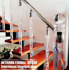 Latest stair railings and handrails design ideas of crystal and crystal bubbles - contain stylish crystal stair columns with many column shapes for luxury houses and hotels interior crystal stair railing and handrails designs Glass Stairs, Glass Railing, Acrylic Rod, Clear Acrylic, Fiberglass Columns, Space Saving Staircase, Round Stairs, Stair Spindles, Railings