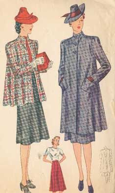 """""""Swagger"""" suit for country, 1941 - characterized by the full back and loose front"""