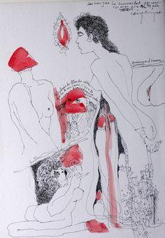 Bernardo CRESPIN : La curiosidad por conocer mas alla... ; 14 April 2008 ; tinta sobre papel ; colección MDAA (adquirido del artista)