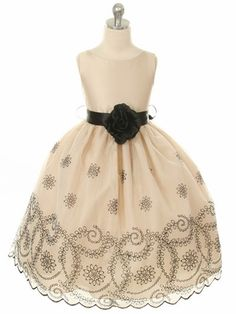 e60eb2a7961 Champagne Organza Dress w  Black Embroidery. Little Girl DressesFlower ...