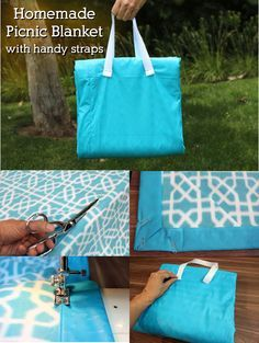 A picnic blanket that you can DIY with handy straps that make it perfect for traveling to any park or beach. Only basic sewing required!
