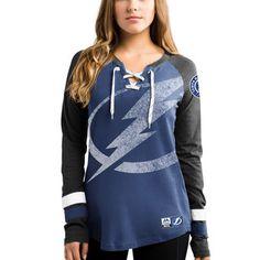 Tampa Bay Lightning Women's Blue Vintage Hip Check Lacer Long Sleeve T-Shirt #lightning #tampa #nhl
