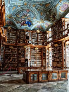 Baroque library of the St. Florian Monastery ...No matter how big my home library is, it needs a painted ceiling like this one.