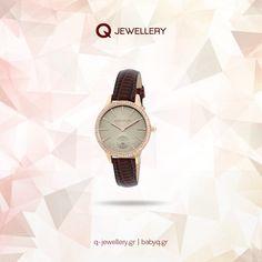 Γυναικείο ρολόι Karen Millen διακοσμησμένο με κρύσταλλα, με κάσα από ροζ επίχρυσο ανοξείδωτο ατσάλι και δερμάτινο λουράκι. Karen Millen, Wood Watch, Watches, Gold, Accessories, Jewelry, Wooden Clock, Jewlery, Bijoux