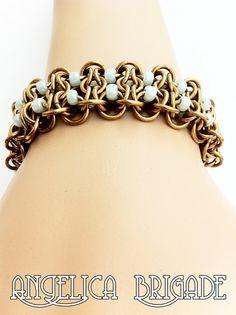 Beaded Gridlock Byzantine Chain Maille Bracelet