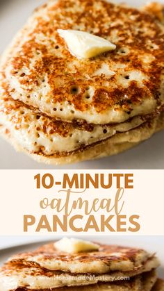 Healthy and easy oatmeal pancake recipe without banana! These healthy oat pancakes are great for a delicious quick breakfast! Very versatile - top with your favourite toppings! Breakfast Bites, Breakfast Snacks, Healthy Breakfast Recipes, Breakfast Options, Breakfast Pancakes, Healthy Recipes, Healthy Oat Pancakes, Oatmeal Pancakes Easy, Banana Pancakes