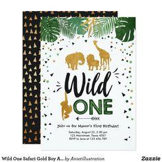 Wild One Safari Gold Boy Animals Birthday Party Invitation Boys 1st Birthday Party Ideas, 1st Boy Birthday, First Birthday Parties, First Birthdays, Wild One Birthday Invitations, Zazzle Invitations, Invites, Thing 1, Animal Birthday