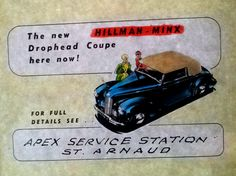 cinema slide for the Hillman Minx sold at Apex Service Station St Arnaud Advertising, Ads, Old Things, Cinema, Movies, Movie Theater