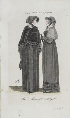 Two mourning outfits. 1802 lady's magazine