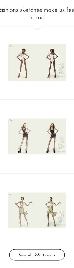 """""""fashions sketches make us feel horrid"""" by kimi99 ❤ liked on Polyvore featuring skinny, campain, drawings, backgrounds, sketches, art, fillers, home, home decor and wall art"""