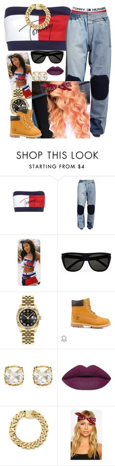 """""""90s Inspired Theme Party (Aaliyah)"""" by newtrillvibes ❤ liked on Polyvore featuring Tommy Hilfiger, Ashish, Yves Saint Laurent, Rolex, Timberland and Juicy Couture"""