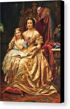 "New artwork made with love for you! - "" Qeen Marie Of Hanover And Her Daughter Mary By Wilhelm Von Kaulbach Canvas Print / Canvas Art by Kaulbach Wilhelm von "" - https://ift.tt/2sOkC2K"