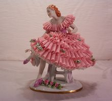 Vintage Dresden Porcelain and Lace Ballerina Figurine