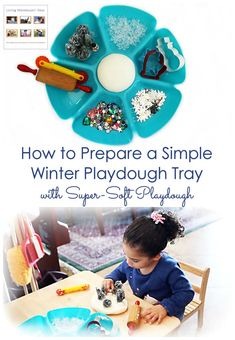 A winter playdough tray is a fun way to improve attention spans and fine-motor skills for toddlers and preschoolers; Easy, super-soft playdough recipe that preschoolers can make is included! Playdough Activities, Montessori Activities, Fun Activities, Montessori Kindergarten, Preschool At Home, Preschool Themes, Toddler Preschool, Winter Fun, Winter Theme